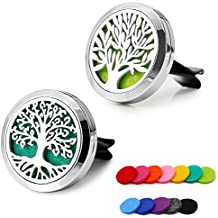 RoyAroma 2PCS 30mm Car Aromatherapy Essential Oil Diffuser Stainless Steel Locket Air Freshener with Vent Clip 12 Felt Pads