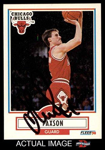 1990 Fleer # 28 John Paxson Chicago Bulls (Basketball Card) Dean's Cards AUTOGRAPHED Bulls