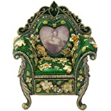 af1e1363f1cb Emerald Green Enameled Royal Floral Chair Antique Crystal Collectible Gift  Vintage Trinket Figurine Jewelry Box