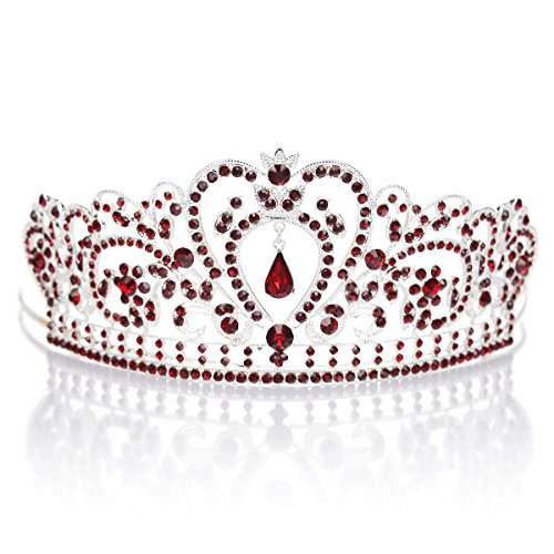 [Remedios Crystal Wedding Prom Pageant Tiara Headpiece Bridal Princess Crown Headband With Pendant, Silver &] (Beauty Pageant Queen Costume)