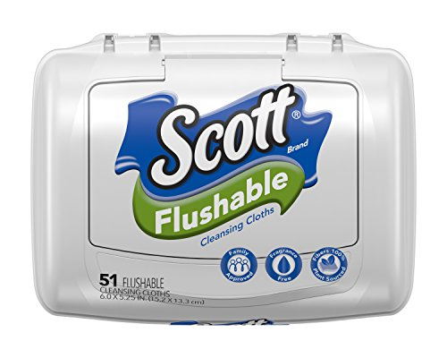 Scott Natural Moist Wipe Tub, 51 ct (Flushable Moist Wipes Tub)