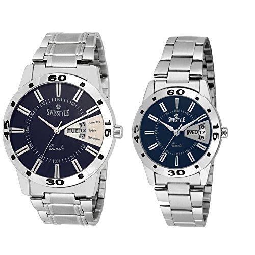Swisstyle Anolog Blue Dial Couple Combo Watch SS 8416 BLU