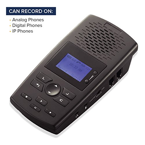 RecorderGear TR600 Landline Phone Call Recorder For Analog/IP/Digital Lines, Automatic Telephone Recording Device (Line Voip Desktop Phone)