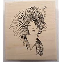 Stampington And Co Lady Of Grace Whimsical Woman Wood Mount Rubber Stamp #S7354