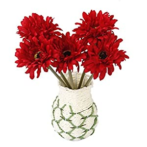NUOLUX Artificial Gerbera Daisy Flower for Wedding Home Decoration 5pcs(Red) 120