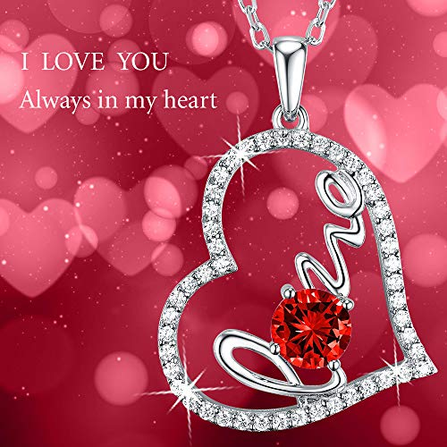 July Birthstone Red Ruby Forever Love Heart Necklace Sterling Silver Swarovski Jewelry Birthday Gift For Her
