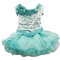 Beauty Pageant Dress for Toddlers with Glitz & Cupcake Skirt, Sea Green, 4