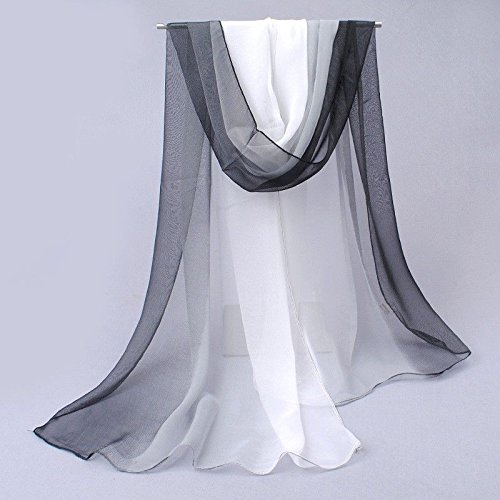 New Art Fashion Fabric Decor Party Gradient Color Soft Long Chiffon Thin Beach Wrap Scarf Gift Black - Black White Gradient