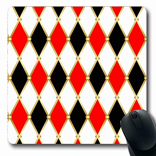 - LifeCO Computer Mousepad Color Mosaic Harlequin Patterns Golden Grid Red Joker Vintage Abstract Argyle Black Carnival Circus Oblong Shape 7.9 x 9.5 Inches Oblong Gaming Non-Slip Rubber Mouse Pad Mat