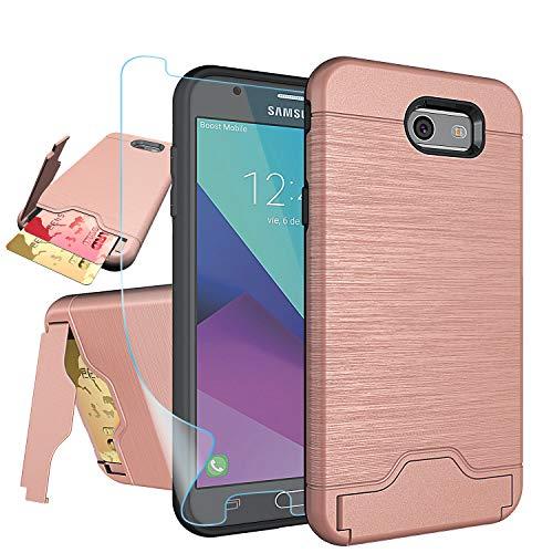 Galaxy J7 V/ J7 Perx/J7 Prime/J7 Sky Pro/Halo Case with HD Screen Protector,NiuBox[Card Slot Wallet][Kickstand] Full Body Shock Absorption Protective Phone Case for Samsung J7V 2017-Rose Gold