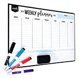 Magnetic Dry Erase Weekly Calendar for Fridge: with Stain Resistant Technology - 17x12'' - 4 Fine Tip Markers and Large Eraser with Magnets - Whiteboard Organizer Planner: Refrigerator White Board