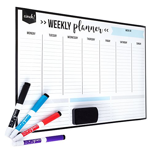 Weekly Family - Magnetic Dry Erase Weekly Calendar for Fridge: with Stain Resistant Technology - 17x12
