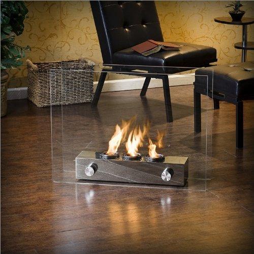 Southern Enterprises Portable Glass Fireplace