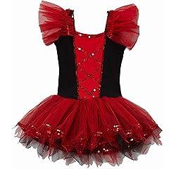 Girl's Red & Black Sequin Ballet Dress