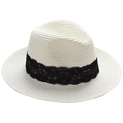 10abfabb2691 Lanzom Women Wide Brim Straw Panama Roll up Hat Fedora Beach Sun Hat UPF50+