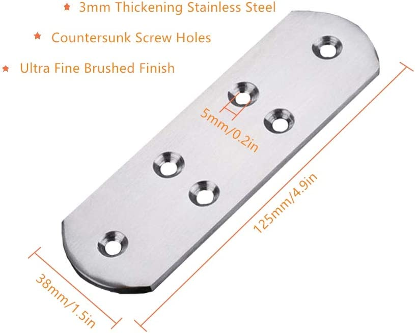 Tiberham 2Pcs 125 x 38 mm Stainless Steel Mending Repair Plate Joining Connector Heavy Duty Fixing Bracket Support Flat Straight Brace Bracket