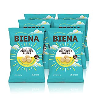 BIENA Baked Chickpea Puffs, Aged White Cheddar, 3.2 Ounce, 6 Count