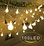 Globe String Lights 100 Led Christmas Lights Indoor/Outdoor Decoration Lights for Patio Garden Xmas Tree Wedding Dorm Bedroom Decoration USB Powered (WARM WHITE LIGHT)