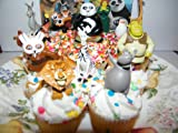 Dreamworks Movie Figure Cake Toppers / Cupcake Party Favor Decorations Set of 12 with characters from Madagascar, Shrek and Kung Fu Panda!