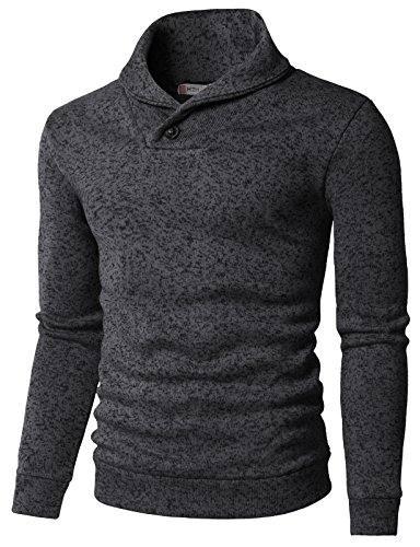 H2H Mens Knited Slim Fit Pullover Sweater Shawl Collar with One Button Point Charcoal US 3XL/Asia 4XL (KMOSWL036)]()