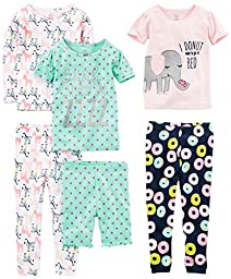 Simple Joys by Carter\'s Baby Girls 6-Piece Snug Fit Cotton Pajamas, Donuts/Zebra/Dots, 18 Months