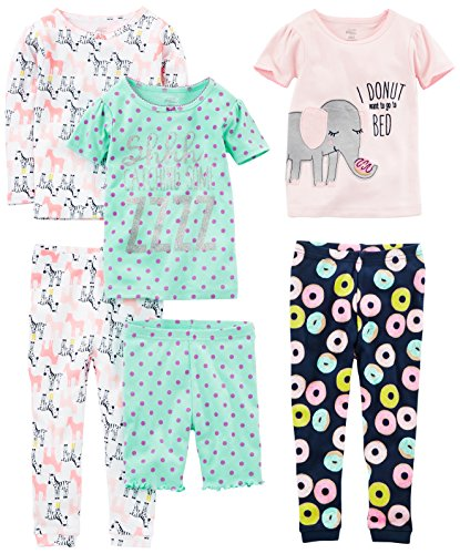 Simple Joys by Carter's Baby Girls 6-Piece Snug Fit Cotton Pajamas, Donuts/Zebra/Dots, 6-9 Months ()