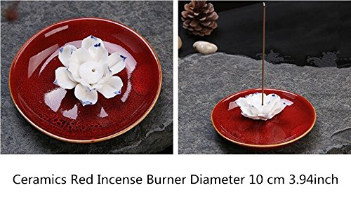 2500 Silk Art Ceramic Handmade Artistic Incense Holder Burner Stick Coil Lotus Ash Catcher Buddhist Water Lily Plate for Home Ornamental Yoga Meditation Bedroom XXL (Red)