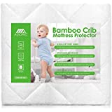 Crib Mattress Protector, Baby Crib Mattress Cover, Waterproof Mattress for Baby Premium Hypoallergenic Breathable Bamboo Fiber (White)