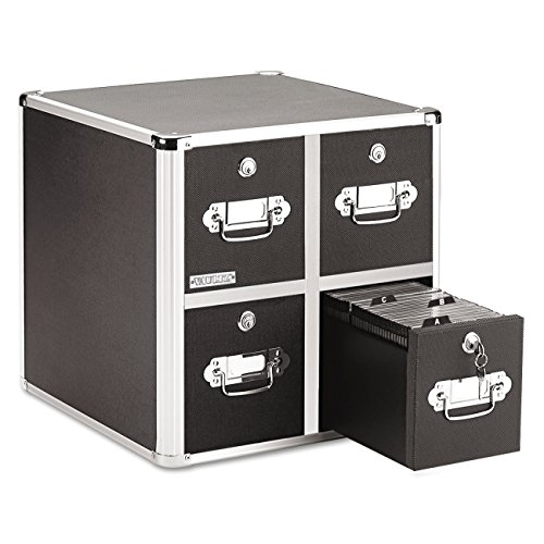 Vaultz Locking CD File Cabinet, 4 Drawers, 15.25 x 14.00 x 14.50 Inches, Black - Cabinet Cd Drawer 4 Vaultz
