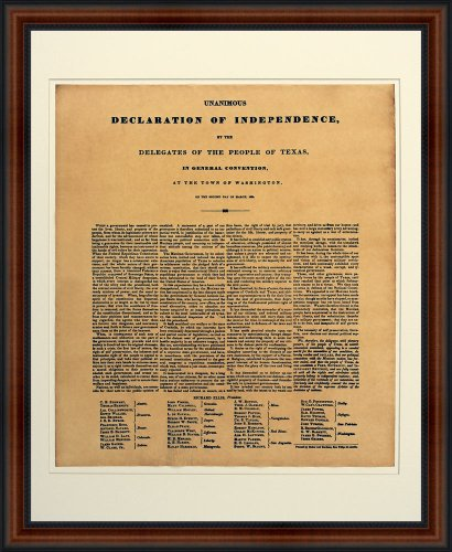 Texas Declaration of Independence. Replica of 1836 Broadside Print. Hand-Finished Genuine Parchment. Professionally Framed in the Custom Made Real Wood Dark Brown with the Black Trim Classic Museum Style Frame 18.5 x 22.5