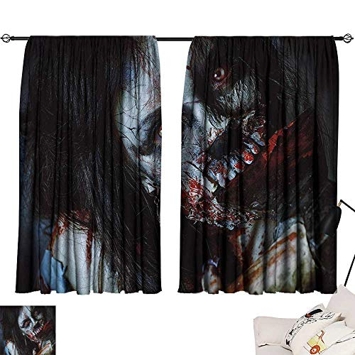 Jinguizi Zombie Drapes/Draperies Scary Dead Woman with a Bloody Axe Evil Fantasy Gothic Mystery Halloween Picture Fashion Darkening Curtains Multicolor W63 x L63