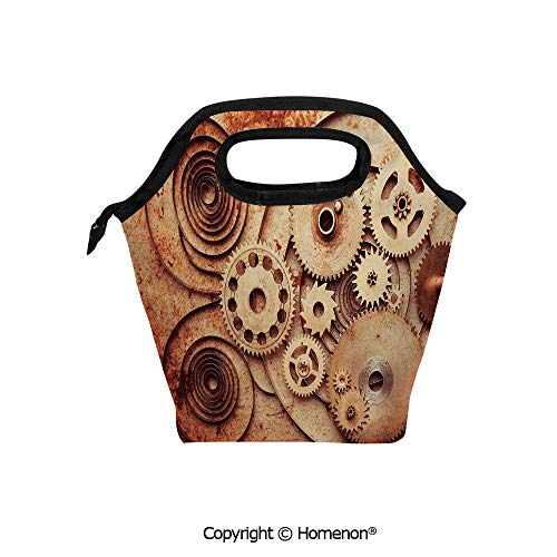 Insulated Neoprene Soft Lunch Bag Tote Handbag lunchbox,3d prited with Mechanical Clocks Details Old Rusty Look Backdrop Gears Steampunk,For School work Office Kids Lunch Box & Food Container