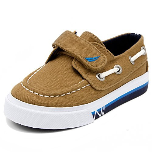 Nautica Kids Little River Striped Foxing Boat Shoe -Sneaker -Casual Adjustable Straps -Little Kid 11 Newcore Hickory