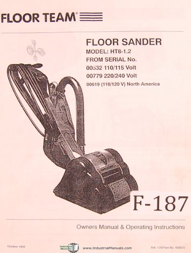 Floor Team HT8-1.2, Floor Sander Machine, owner & Operating Instructions Manual