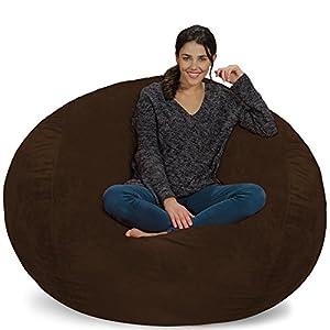 Chill Sack Chair: Giant 5′ Memory Foam Furniture Bean Bag Big Sofa with Soft Plush Ultra Fur Cover, 5 Foot, Ultrafur…