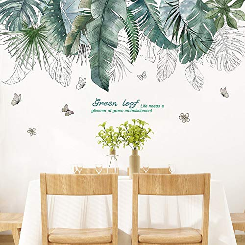 Tropical Tree Leaves Wall Stickers DIY Plant Wall Decals for Living Room Bedroom Decoration Home Decor Sticker (Dolphin Tropical Mirror)