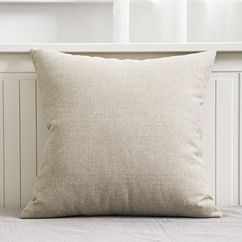 Home Brilliant Burlap Linen Decorative Throw Pillow Cover for Couch/Sofa/Bench, Slub Textured, 18