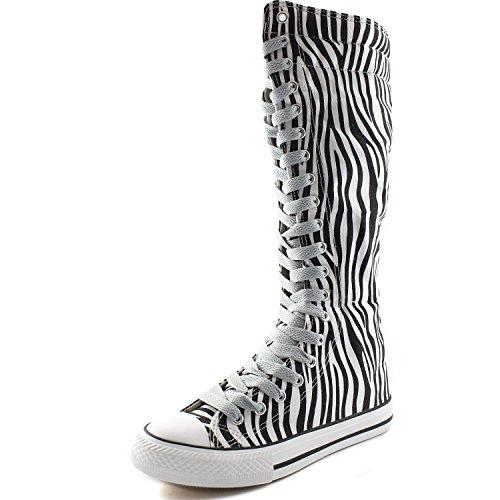 Boots DailyShoes Mid US Boots Flat Womens Tall Calf Zebra Casual 8 Punk Canvas B Sneaker M Clean Grey Lace 5 rXXFwqERBx