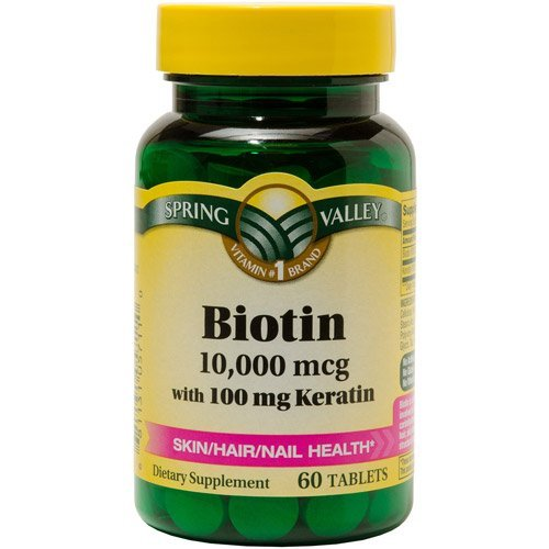 Spring Valley Биотин Диетические, 10000 мг 100 мг кератина, 60 таблеток