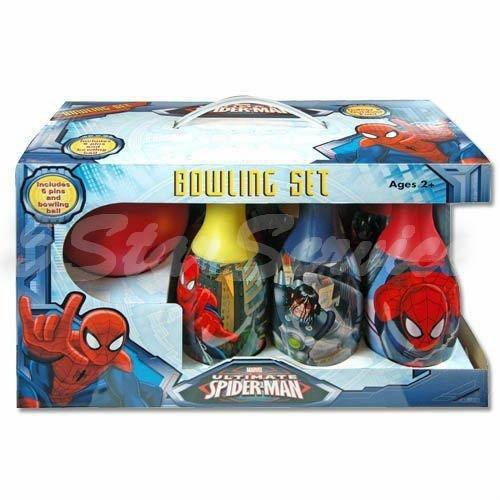 Brand New! Marvel Spider-man Bowling Set - Boys Kids Birthday Gift Toy 6 Pins & 1 Ball by 5StarService