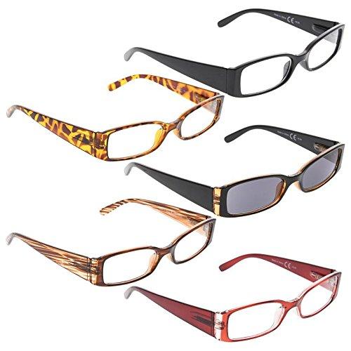 READING GLASSES 5 pack Women Rectangular Readers Include Sunglasses