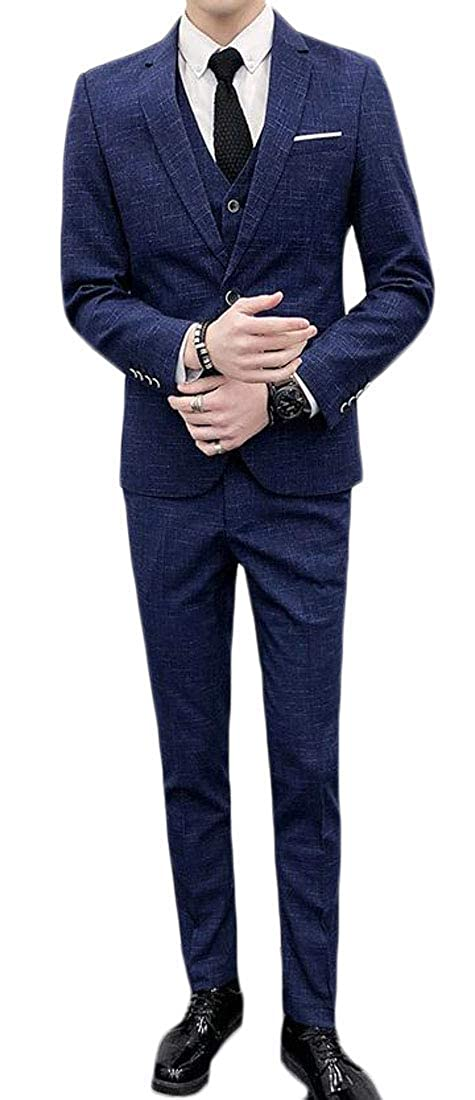 Joe Wenko Mens Vest Casual Slim Fit Pants Blazer 3 PCS Jacket Suit Sets