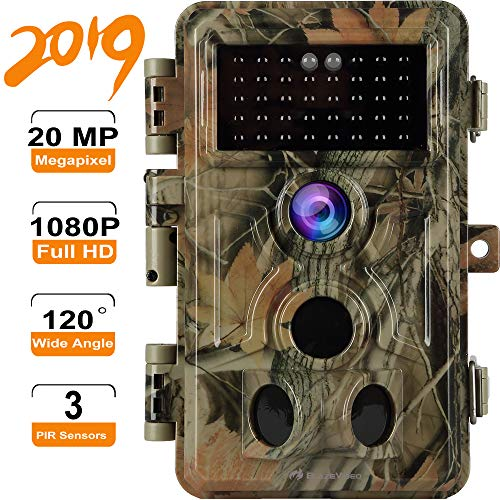 Game & Trail Camera HD 20MP Picture 1920x1080P Audio & Video No Glow with Night Vision, Deer Hunting Camera 120° 3-PIR Motion Activated & 0.2S Trigger Speed, IP66 Waterproof, Photo & Video Model