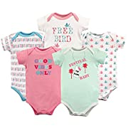 Luvable Friends Baby Infant Basic Bodysuit, 5 Pack, Festival Baby, 9M(6-9 Months)
