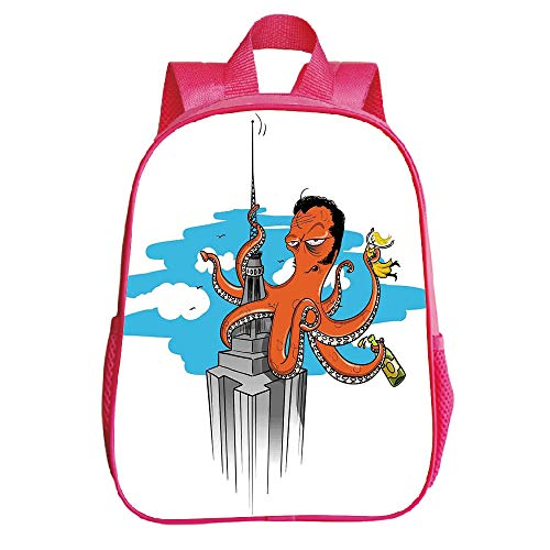 Customizable Trumpet Red Backpack,Octopus Decor,Retro Cartoon Octopus Illustrated as King Kong on Empire State Building and Lady in Tentacles,Multi,for Children,Print Design.11.8