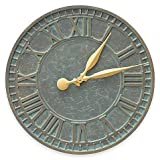 Whitehall Products 16-Inch Geneva Indoor/Outdoor Wall Clock in Bronze Verdigris