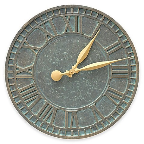 Whitehall Products 16-Inch Geneva Indoor/Outdoor Wall Clock in Bronze Verdigris by Whitehall