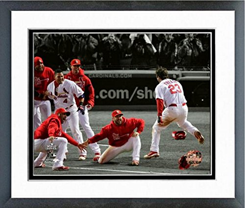 "MLB David Freese Game Winning Walk-Off Home Run Game 6 2011 World Series Spotlight Action Photo (Size: 12.5"" x 15.5"") Framed"