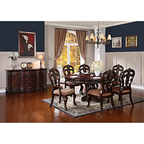 Dublin 7 Piece 60-76 inch Dining Set in Warm Cherry - Table, 2 Arm, 6 Chairs