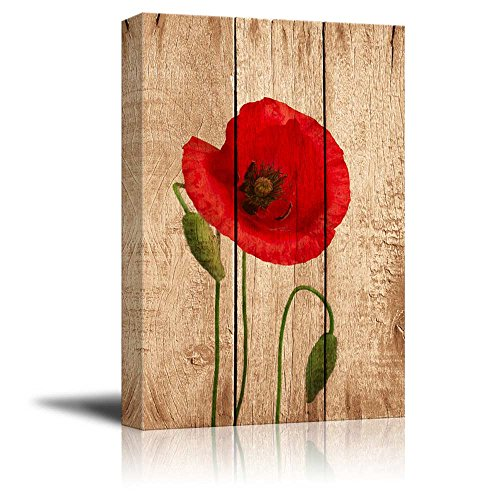 Red Poppy Flower on Vintage Wood Background Rustic